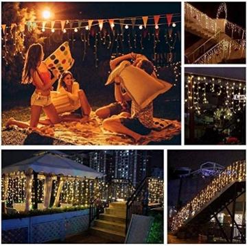 Lichterkette Eisregen Außen, 5M Weihnachtsbeleuchtung Lichtervorhang mit USB, 8 Modi und Timer Memory-Funktion und Dimmbar mit Fernbedienung, Deko Hochzeiten, Garten(Warmweiß) - 8