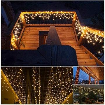 Lichterkette Eisregen Außen, 5M Weihnachtsbeleuchtung Lichtervorhang mit USB, 8 Modi und Timer Memory-Funktion und Dimmbar mit Fernbedienung, Deko Hochzeiten, Garten(Warmweiß) - 9