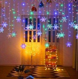 lichtervorhang fenster led,LED Schneeflocke Lichterketten,Lichtervorhang Lichter Weihnachtsbeleuchtung,LED Lichterkette,LED Lichterkette mit Schneeflocken,Weihnachten Deko Party Festen (Farbe-1) - 1