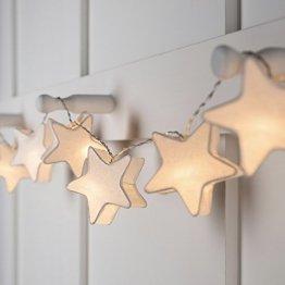 Lights4fun 10er LED Papier Sternen Lichterkette warmweiß batteriebetrieben Innen - 1