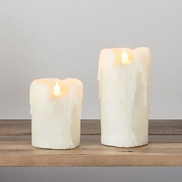 Lights4fun 4er Set LED Echtwachs Kerzen mit Wachstropfen mit Zeitschaltuhr Batteriebetrieb - 3