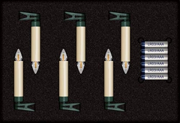 Lumix KRINNER Superlight Flame 6er Erweiterungs-Set kabellose LED Christbaumkerzen, Kunststoff, Elfenbein, 9 cm - 7