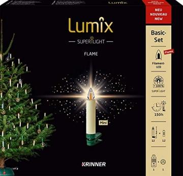Lumix KRINNER Superlight Flame12er Basis-Set kabellose LED Christbaumkerzen, Kunststoff, Elfenbein, 9 cm - 2