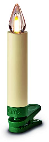 Lumix KRINNER Superlight Flame12er Basis-Set kabellose LED Christbaumkerzen, Kunststoff, Elfenbein, 9 cm - 3