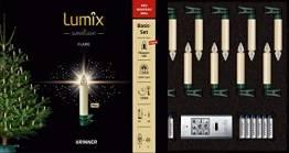 Lumix KRINNER Superlight Flame12er Basis-Set kabellose LED Christbaumkerzen, Kunststoff, Elfenbein, 9 cm - 1