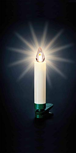 Lumix KRINNER Superlight Flame12er Basis-Set kabellose LED Christbaumkerzen, Kunststoff, Elfenbein, 9 cm - 4