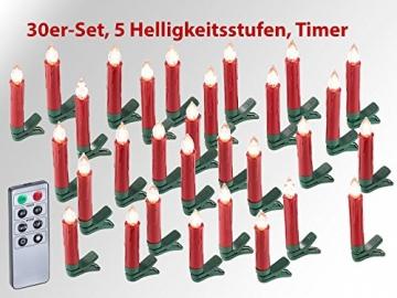 Lunartec LED Christbaumkerzen: 30er-Set LED-Weihnachtsbaum-Kerzen mit IR-Fernbedienung, rot (Christbaumkerzen kabellos) - 2