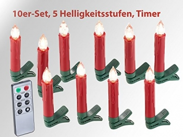 Lunartec LED Christbaumkerzen: 30er-Set LED-Weihnachtsbaum-Kerzen mit IR-Fernbedienung, rot (Christbaumkerzen kabellos) - 3
