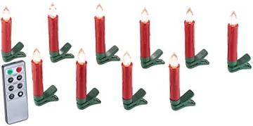 Lunartec LED Christbaumkerzen: 30er-Set LED-Weihnachtsbaum-Kerzen mit IR-Fernbedienung, rot (Christbaumkerzen kabellos) - 4