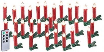 Lunartec LED Christbaumkerzen: 30er-Set LED-Weihnachtsbaum-Kerzen mit IR-Fernbedienung, rot (Christbaumkerzen kabellos) - 1