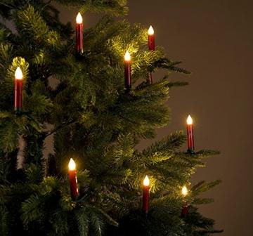 Lunartec LED Christbaumkerzen: 30er-Set LED-Weihnachtsbaum-Kerzen mit IR-Fernbedienung, rot (Christbaumkerzen kabellos) - 8