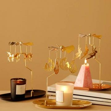 Luxshiny Teelicht Karussell Weihnachten Teelichthalter Gold Rotierender Kerzenhalter Metall Kerzenständer Fee Anhänger mit Tablett Tischdeko Votiv Advent Deko - 2
