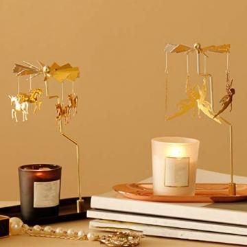 Luxshiny Teelicht Karussell Weihnachten Teelichthalter Gold Rotierender Kerzenhalter Metall Kerzenständer Fee Anhänger mit Tablett Tischdeko Votiv Advent Deko - 3