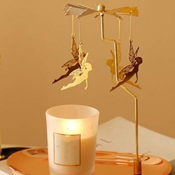 Luxshiny Teelicht Karussell Weihnachten Teelichthalter Gold Rotierender Kerzenhalter Metall Kerzenständer Fee Anhänger mit Tablett Tischdeko Votiv Advent Deko - 4