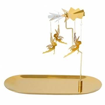 Luxshiny Teelicht Karussell Weihnachten Teelichthalter Gold Rotierender Kerzenhalter Metall Kerzenständer Fee Anhänger mit Tablett Tischdeko Votiv Advent Deko - 1