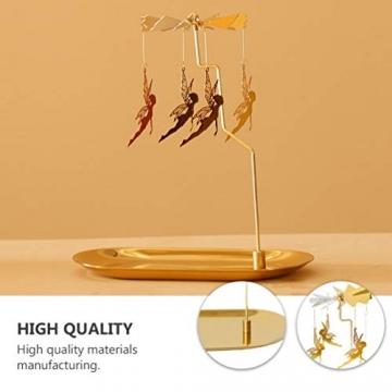 Luxshiny Teelicht Karussell Weihnachten Teelichthalter Gold Rotierender Kerzenhalter Metall Kerzenständer Fee Anhänger mit Tablett Tischdeko Votiv Advent Deko - 5