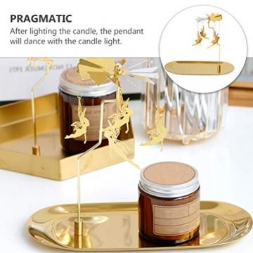 Luxshiny Teelicht Karussell Weihnachten Teelichthalter Gold Rotierender Kerzenhalter Metall Kerzenständer Fee Anhänger mit Tablett Tischdeko Votiv Advent Deko - 6