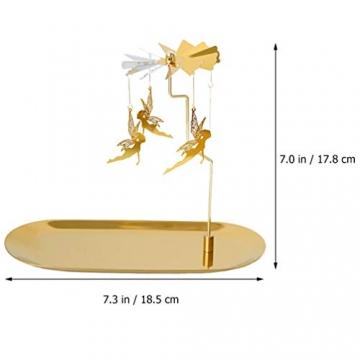 Luxshiny Teelicht Karussell Weihnachten Teelichthalter Gold Rotierender Kerzenhalter Metall Kerzenständer Fee Anhänger mit Tablett Tischdeko Votiv Advent Deko - 7