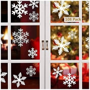 Lynlon 108 Fensterdeko Schneeflocken Schneeflocken Fensterbilder Abnehmbare Fensterdeko Statisch Haftende PVC Aufkleber für Weihnachts-Fenster Dekoration, Türen,Schaufenster, Vitrinen, Glasfronten - 1