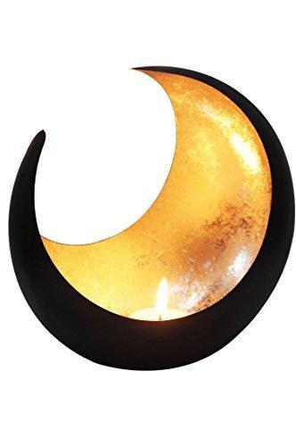 MAADES Windlicht Laterne orientalisch Moon Groß 20cm Gold | Orientalische Vintage Teelichthalter Schwarz von außen und Goldfarben innen | Marokkanische Windlichter aus Metall als Dekoration - 4