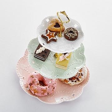 MALACASA, Serie Sweet.Time, Porzellan Etagere 3-stöckig 6/8/10,5 Zoll Etagere (3 Frabe) - 3