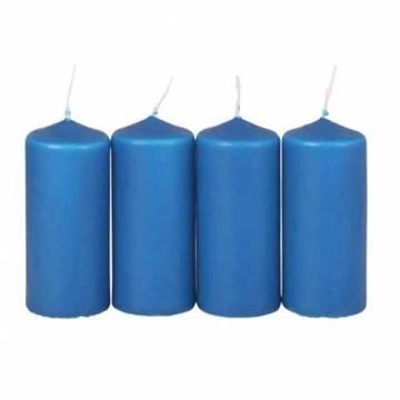 Malmö Chokladfabrik 4er-Set Adventskranzkerzen blau Weihnachtskerze Stumpenkerze Wachskerze 38x90mm - 1