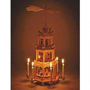 matches21 Weihnachtspyramide 4-stöckig Krippen-Szene Heilige & Engel für Kerzen Holz Tischdeko Adventspyramide 19x49 cm - 2
