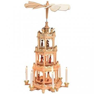 matches21 Weihnachtspyramide 4-stöckig Krippen-Szene Heilige & Engel für Kerzen Holz Tischdeko Adventspyramide 19x49 cm - 1