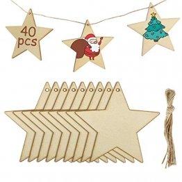 MELLIEX 40 Stück Holz Deko Hängesterne, DIY Basteln Holzanhänger Dekohänger zum Bemalen mit 40 Stück Fäden für Weihnachtsschmuck Weihnachtsanhänger Baum Geschenkanhänger - 1