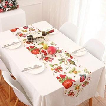 MissZZ Weihnachten bestickter Tisch Weihnachtstischwäsche für Weihnachtsdekorationen 178 * 35cm / 70 * 14in B. - 3