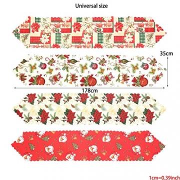 MissZZ Weihnachten bestickter Tisch Weihnachtstischwäsche für Weihnachtsdekorationen 178 * 35cm / 70 * 14in B. - 4