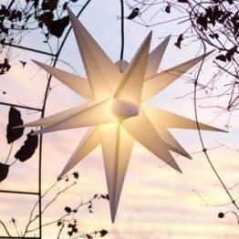 Mit LED Außenstern Stern Outdoor weiss - beleuchteter Stern 55-60 cm Weihnachtsstern Leuchtstern Faltstern mit Leuchtmittel LED (StaRt-NDL-DUH-E14-C3,5W) - 1