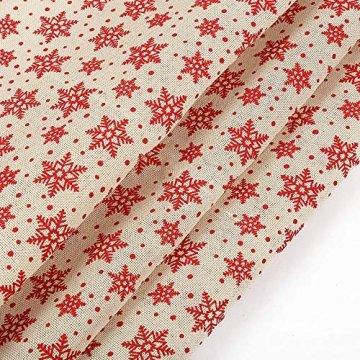 MoonyLI Weihnachtsschneeflockenstoff Winterstoff Leinenstoff Patchwork Baumwollstoff DIY Craft Dekorationsstoff für Polster und Wohnakzente Hochzeitsfeier Weihnachtstischwäsche 1 Yard - 1