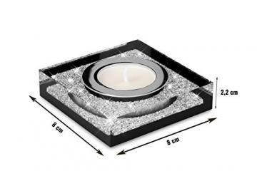 My IMPLEXIONS Edle Teelichthalter Lotus 1 veredelt mit Swarovski Kristallen/Funkelnde Tischdeko/Moderne Dekoration Wohnung (3er Set, Schwarz) - 2