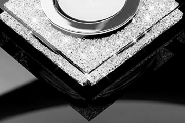 My IMPLEXIONS Edle Teelichthalter Lotus 1 veredelt mit Swarovski Kristallen/Funkelnde Tischdeko/Moderne Dekoration Wohnung (3er Set, Schwarz) - 3
