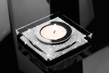 My IMPLEXIONS Edle Teelichthalter Lotus 1 veredelt mit Swarovski Kristallen/Funkelnde Tischdeko/Moderne Dekoration Wohnung (3er Set, Schwarz) - 4