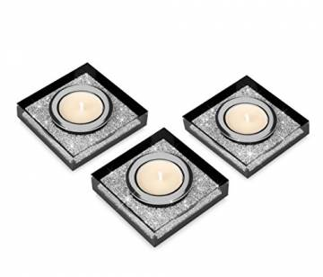 My IMPLEXIONS Edle Teelichthalter Lotus 1 veredelt mit Swarovski Kristallen/Funkelnde Tischdeko/Moderne Dekoration Wohnung (3er Set, Schwarz) - 1