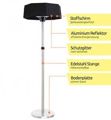 MyMaxxi   Infrarot Heizstrahler Terrasse stehend 2100W elektrisch   höhenverstellbar und 3 Heizstufen   Outdoor stand heater   Terrassenstrahler mit Standfuß für Draußen   Quarzstrahler - 2