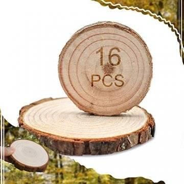 NANMOO 16 Stücke Rund Natur Holzscheiben, 9-10cm Baumscheiben Ca.10mm Dicke, Holz Log Scheiben mit Baumrinde Unbehandeltes ohne Loch für DIY Handwerk Dekoration, Basteln, Hochzeit, Weihnachten Deko - 1
