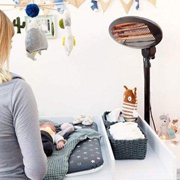 Navaris Baby Heizstrahler Wärmelampe mit Standfuß - 3 Stufen Wickeltisch Wärme Lampe mit Stand - Abschaltautomatik höhenverstellbar in Schwarz - 2
