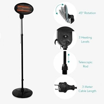 Navaris Baby Heizstrahler Wärmelampe mit Standfuß - 3 Stufen Wickeltisch Wärme Lampe mit Stand - Abschaltautomatik höhenverstellbar in Schwarz - 3