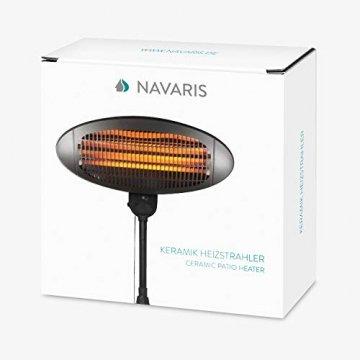 Navaris Baby Heizstrahler Wärmelampe mit Standfuß - 3 Stufen Wickeltisch Wärme Lampe mit Stand - Abschaltautomatik höhenverstellbar in Schwarz - 7