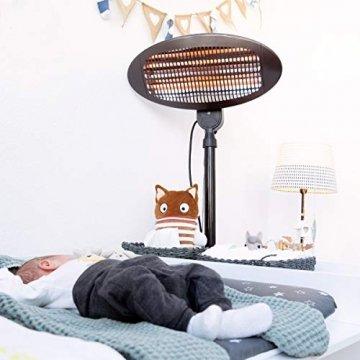 Navaris Baby Heizstrahler Wärmelampe mit Standfuß - 3 Stufen Wickeltisch Wärme Lampe mit Stand - Abschaltautomatik höhenverstellbar in Schwarz - 9