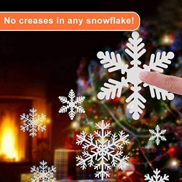NOCHME Schneeflocken Fensterdeko Weihnachten, 108 PCS Statische Fensteraufkleber für Fenster, Fensterbild, Weihnachtsfensterbilder, Weihnachtsdeko, Fensterbilder, Fensterfolie PVC-Aufkleber (Weiß) - 7