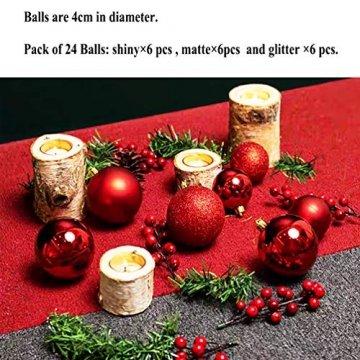 O-Kinee Weihnachtskugeln Rot, 24 Stücke Christbaumkugeln Kunststoff, Kugeln Weihnachtsdeko, Weihnachtsbaumschmuck Set, Weihnachtsbaum Deko & Christbaumschmuck, 4CM - 2