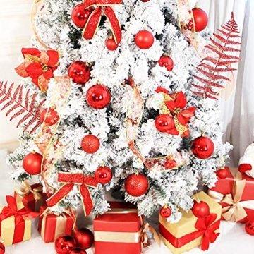 O-Kinee Weihnachtskugeln Rot, 24 Stücke Christbaumkugeln Kunststoff, Kugeln Weihnachtsdeko, Weihnachtsbaumschmuck Set, Weihnachtsbaum Deko & Christbaumschmuck, 4CM - 3