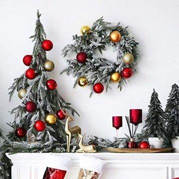 O-Kinee Weihnachtskugeln Rot, 24 Stücke Christbaumkugeln Kunststoff, Kugeln Weihnachtsdeko, Weihnachtsbaumschmuck Set, Weihnachtsbaum Deko & Christbaumschmuck, 4CM - 4