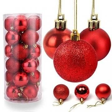 O-Kinee Weihnachtskugeln Rot, 24 Stücke Christbaumkugeln Kunststoff, Kugeln Weihnachtsdeko, Weihnachtsbaumschmuck Set, Weihnachtsbaum Deko & Christbaumschmuck, 4CM - 1