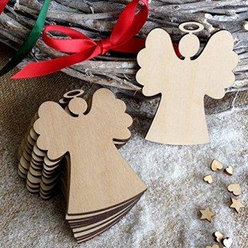 Oblique-Unique® 10 Stück Natur Holz Engel oder Weihnachtsbaum Anhänger mit Schnur als Christbaumschmuck Baumschmuck Christbaumanhänger Geschenkanhänger - Weihnachts Deko (Engel 10er Set) - 2