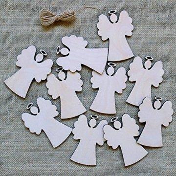 Oblique-Unique® 10 Stück Natur Holz Engel oder Weihnachtsbaum Anhänger mit Schnur als Christbaumschmuck Baumschmuck Christbaumanhänger Geschenkanhänger - Weihnachts Deko (Engel 10er Set) - 3